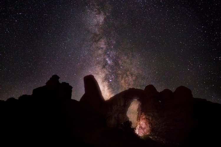 The milky way and Turret Arch at Arches National Park, Moab, Utah.