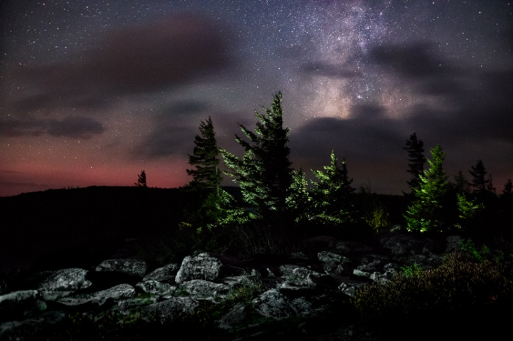 Night time falls upon the pines, the stars and milky way clothed in a veil of clouds in the Dolly Sods Wilderness of West Virginia.