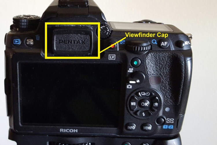 Blocking the viewfinder prevents light from leaking into the camera sensor during long exposures. The provided cap works great but black tape will work in a pinch.