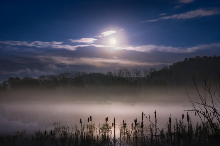 The Spring thunder storms break and the full moon makes an appearance to cast its light on the enveloping fog over the marsh of Green Bottom, West Virginia. Fully edited shot with lens flare removed using the method described in Zack Ahern's video.