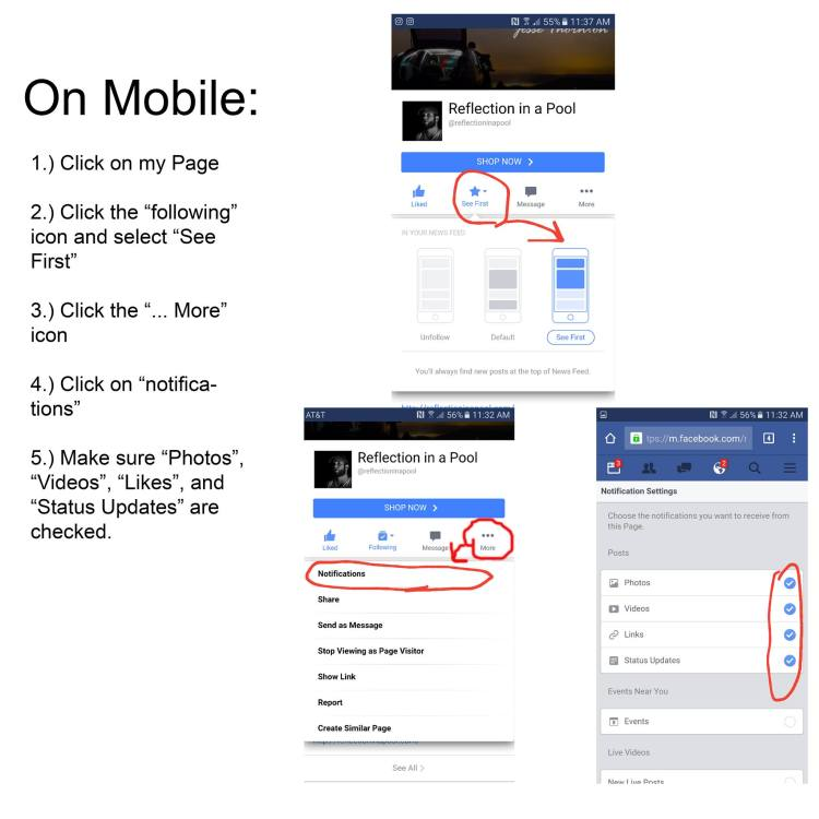 How to turn on Facebook notifications using mobile devices.