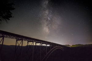 Here, the New River Gorge Bridge was shot at moon set early in the evening. I waited 2 hours later to shoot the Milky Way at the center point of the bridge. ISO 3200, f/2.8, 15 secs.