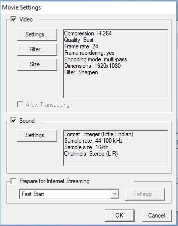 Quicktime video and audio settings